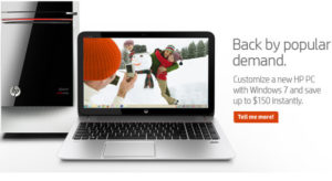 "HP oferta PCs con Windows 7 por ""demanda popular"""